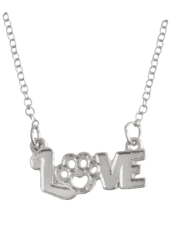 Pet Love Heart Claw Footprint Necklace - Silver