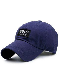 Letters Patchwork Sunscreen Baseball Cap - Purplish Blue