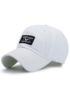 Letters Patchwork Sunscreen Baseball Cap - White