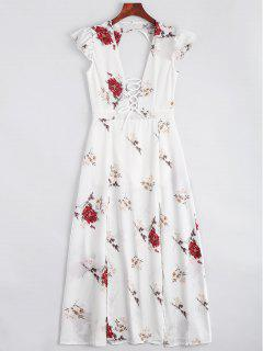 Lace Up Open Back Floral Maxi Dress - White Xl