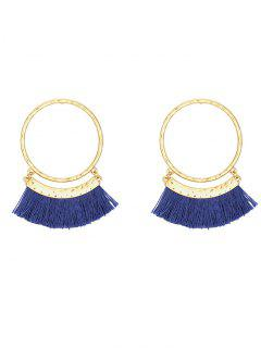 Fringed Statement Hoop Stud Earrings - Blue