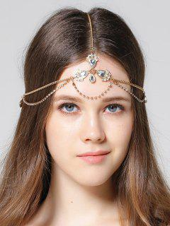 Forehead Faux Gem Rhinestone Head Chain - Golden