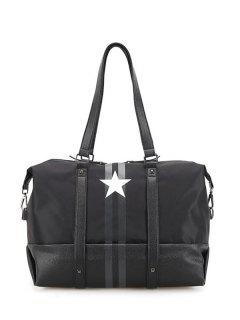 Rivets Star Print Shoulder Bag - Black