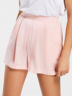 Cozy High Waisted Wide Legged Shorts - Pink M