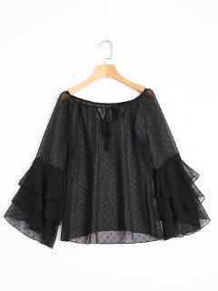 Tiered Flare Sleeve Embellished Sheer Blouse - Black Xl