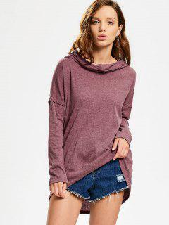 Convertible Collar Knitted High Low Tee - Brick-red S