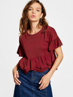 Flare Sleeve Tiered Plain Tee - Deep Red L