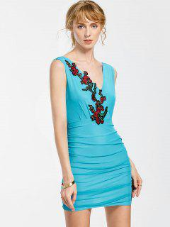 Floral Patched Sleeveless Bodycon Dress - Sky Blue