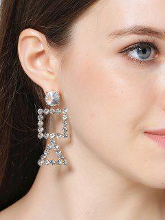 Rhinestone Triangle Geometric Dangle Earrings - Golden
