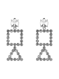 Rhinestone Triangle Geometric Dangle Earrings - Silver