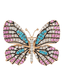 Rhinestone Butterfly Sparkly Brooch - Pink