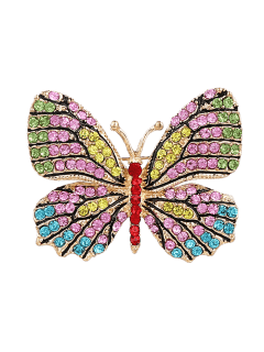 Rhinestone Butterfly Sparkly Brooch - Yellow
