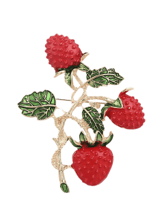 Leaf Fruit Strawberry Brooch - Red