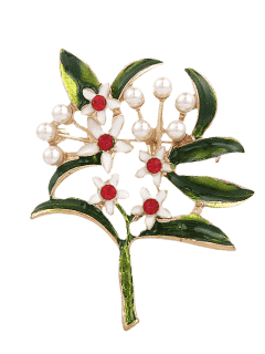 Rhinestone Faux Pearl Flower Brooch - Green