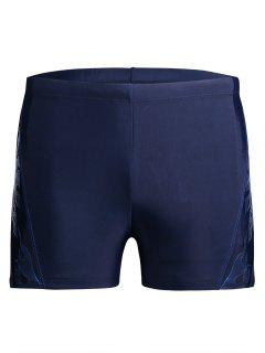 Drawstring Printed Swim Trunks - Blue 4xl