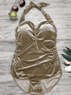 Halter Padded Velvet Plus Size Bathing Suit - Champagne 4xl