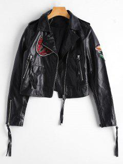Embroidered Patched Zippered Faux Leather Jacket - Black M