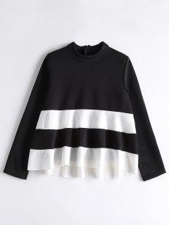 High Neck Two Tone Sweatshirt - White And Black