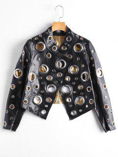 Hollow Out Ring Embellished Shiny Jacket - Black L