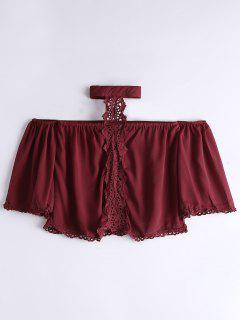 Loose Lace Panel Choker Blouse - Wine Red M