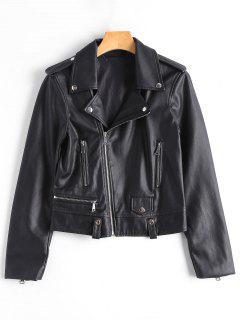 Asymmetric Zipper Faux Leather Biker Jacket - Black S