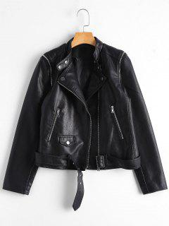 Asymmetric Zipper Belted Convertible Faux Leather Jacket - Black L