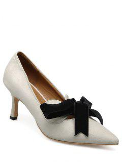 Mid Heel Bow Pointed Toe Pumps - Apricot 39