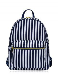 Polyester Color Block Backpack - Blue And White