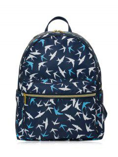 Polyester Color Block Backpack - Deep Blue