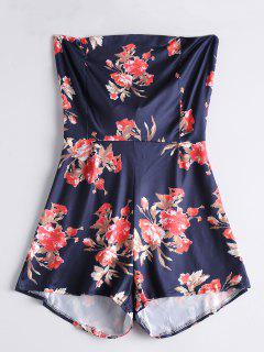 Bowknot Floral Cut Out Romper - Purplish Blue Xl