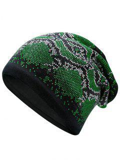 Hot Fix Rhinestone Knitted Skullies Beanie - Green