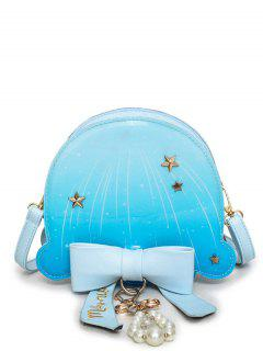 Bow Ombre Star Pattern Crossbody Bag - Windsor Blue