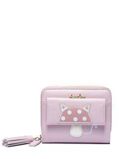 Tassels Mushroom Pattern Embroidery Small Wallet - Pink