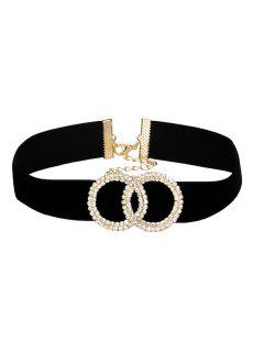Rhinestone Circle Wide Velvet Choker - Black