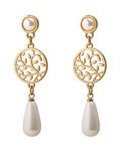 Life Tree Faux Pearl Pendant Earrings - Golden