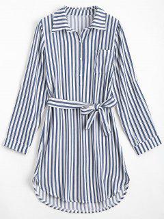Belted Striped Long Sleeve Shirt Dress - Deep Blue S