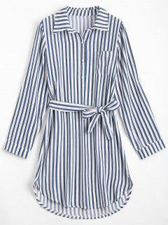 Belted Striped Long Sleeve Shirt Dress - Deep Blue L