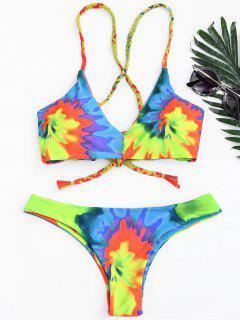 Tie Dye Braided Criss Cross Bikini Set - Yellow S