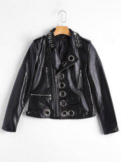 Hollow Out Ring Embellished Faux Leather Jacket - Black Xl