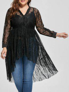 Lace High Low Long Sleeve Plus Size Blouse - Black 5xl