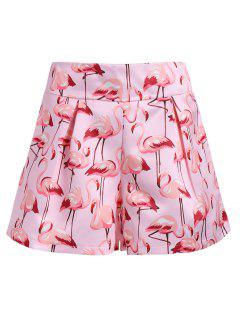 High Waist Flamingo Print Mini Shorts - Light Pink M