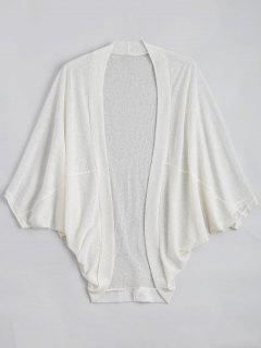 Plus Size Semi Sheer Batwing Sleeve Collarless Top - White 4xl