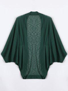 Plus Size Semi Sheer Batwing Sleeve Collarless Top - Deep Green 5xl