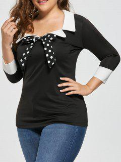 Plus Size Bow Tie Two Tone Blouse - Black 5xl
