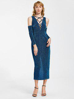 Lace Up Cold Shoulder Glitter Evening Dress - Royal Xl