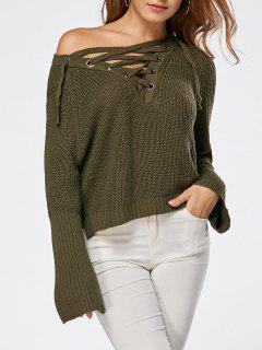 Lace Up Raglan Sleeve High Low Sweater - Lawn