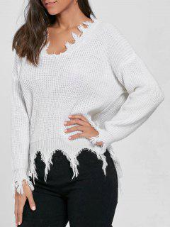 V Neck Knit Distressed Sweater - White