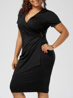 Plus Size Overlap Tight Surplice V Neck Work Dress - Black Xl
