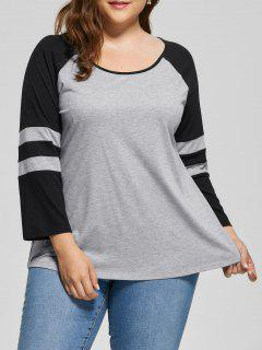 Plus Size Raglan Sleeve Two Tone Top - Black And Grey 5xl