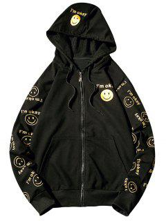 Hooded Front Pocket Smile Face Print Zip Up Hoodie - Black L